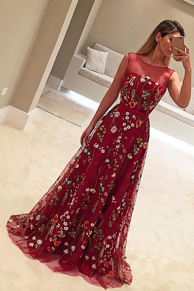 Burgundy A Line Brush Train Sheer Neck Sleeveless Floral Prom Dress,Party Dress P434