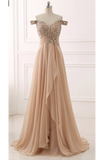A Line Brush Train V Neck Off Shoulder Beading Ruffles Chiffon Prom Dress,Party Dress P367 - Ombreprom