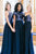 Blue A Line Brush Train Sparkle Cheap Bridesmaid Dresses,Wedding Party Dress B327 - Ombreprom