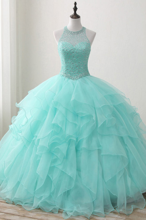 Mint Ball Gown Floor Length Halter Keyhole Back Beading Ruffles Prom Dress,Wedding Dress