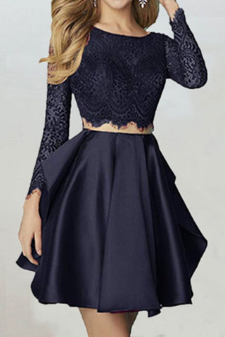 Chic Two Piece Long Sleeves With Lace Appliques Homecoming Dress M535