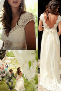 Chic A Line Short Sleeves V Neck Open Back Lace Appliques Wedding Dress W396