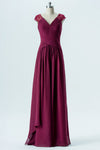 Burgundy A Line Floor Length V Neck Capped Sleeve Sheer Back Cheap Bridesmaid Dresses B159 - Ombreprom