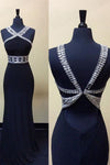 Black Trumpet Floor Length Halter Sleeveless Open Back Beading Cheap Prom Dress,Evening Dress P247 - Ombreprom