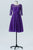 Royal Purple A Line Knee Length Sheer Neck 3/4 Sleeve V Back Cheap Bridesmaid Dresses