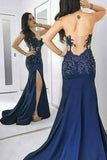 Navy Blue Mermaid Court Train Sweetheart Sleeveless Sheer Back Appliques Prom Dress,Party Dress