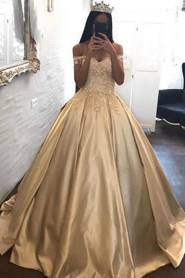 Unique Gold Ball Gown Floor Length Off The Shoulder Long Prom Dress With Appliques P202