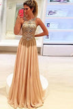 Peach A Line Floor Length Jewel Neck Sleeveless Beading Prom Dress,Formal Dress