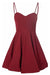 Burgundy A Line Sweetheart Spqghetti Sleeveless Homecoming Dress,Mid Back Short/Mini Prom Dress H250