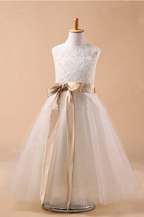 White A Line Floor Length Scoop Neck Sleeveless Bowknot Flower Girl Dresses,Baby Dress