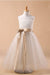 White A Line Floor Length Scoop Neck Sleeveless Bowknot Flower Girl Dresses,Baby Dress F36