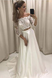 White Two Piece A Line Brush Train 3/4 Sleeve Lace Wedding Dress,Beach Wedding Dress W244 - Ombreprom