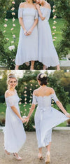 Chic Baby Blue Off Shoulder Chiffon Half Sleeves Bridesmaid Dress B309 - Ombreprom