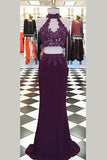 Burgundy Two Piece Sheath Sweep Train Halter Open Back Appliques Prom Dress,Party Dress P133 - Ombreprom