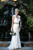Straps Cheap Wedding Gown,Sheath Keyhole Back Sleeveless Appliques Wedding Dress
