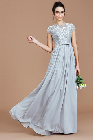 Gray A Line Floor Length Short Sleeves Chiffon Bridesmaid Dress, Wedding Party Dress