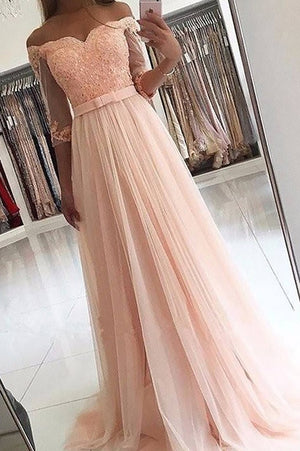 Pink A Line Brush Train Off Shoulder Half Sleeve Appliques Layers Tulle Prom Dress,Party Dress