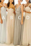 Simple Sweetheart A Line Chiffon Floor Length Bridesmaid Dress B371