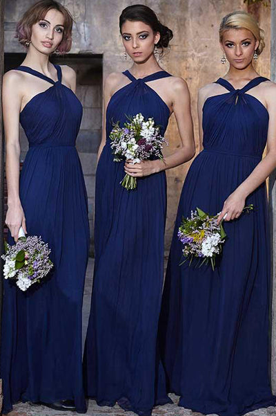 A Line Floor Length Halter Sleeveless Chiffon Cheap Bridesmaid Dresses