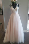 Pink A Line Floor Length Deep V Neck Sheer Back Appliques Cheap Wedding Gown,Beach Wedding Dress