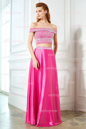 262d388480 Two Piece Hot Pink A Line Floor Length Off Shoulder Beading Prom Dress