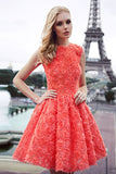 A Line Jewel Neck Sleeveless Rose Floral Homecoming Dress,Short/Mini Prom Dress H254 - Ombreprom