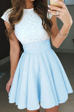 1abe4d34cb5 A Line Jewel Neck Capped Sleeve Keyhole Back Appliques Short Homecoming  Dress H265 - Ombreprom