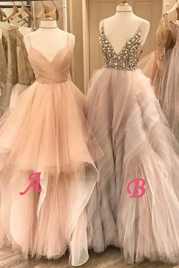 A Line Floor Length Deep V Neck Spaghetti Sleeveless Beading Ruffles Prom Dress,Party Dress P114 - Ombreprom