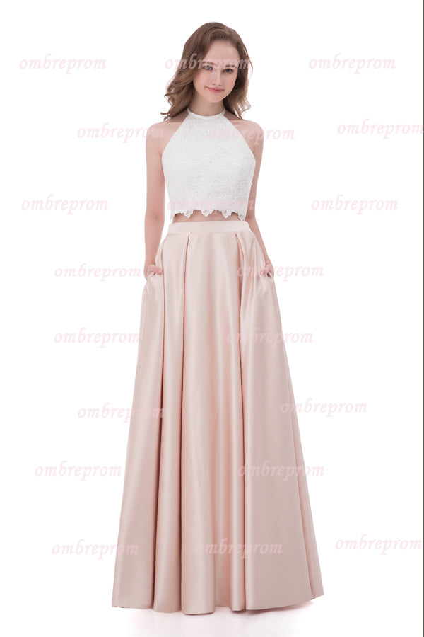 Pink Two Piece A Line Halter Sleeveless Backless Lace Cheap Prom Dress,Formal Dress