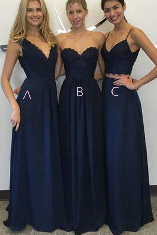 Navy Blue A Line Floor Length Sleeveless Cheap Bridesmaid Dresses B199 - Ombreprom