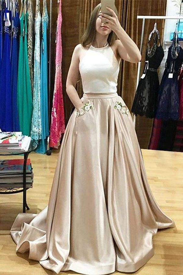 Two Piece A Line Brush Train Halter Sleeveless Embroidery Prom Dress,Wedding Dress
