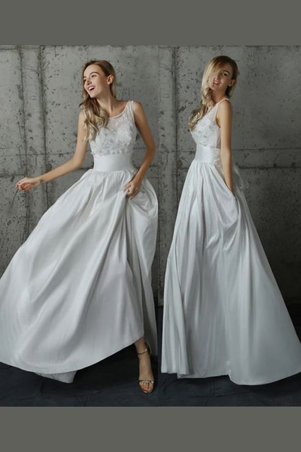 White A Line Floor Length Scoop Neck Sleeveless Appliques Wedding Dress,Beach Wedding Dress