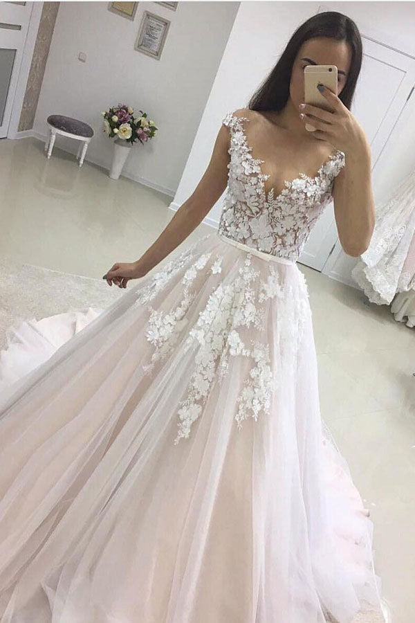 Pink A Line Court Train Deep V Neck Sleeveless Layers Appliques Wedding Dress,Wedding Gowns W284 - Ombreprom