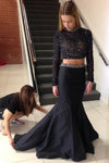 Black Two Piece Trumpet Sweep Train Long Sleeve Beading Prom Dress,Formal Dress P275 - Ombreprom