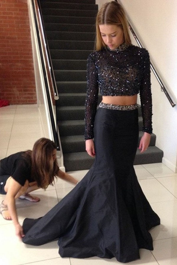 Black Two Piece Trumpet Sweep Train Long Sleeve Beading Prom Dress