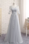 Gray A Line Sheer Neck Half Sleeve Appliques Cheap Bridesmaid Dresses B252