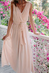 A Line Floor Length Deep V Neck Sleeveless Chiffon Cheap Bridesmaid Dresses B205