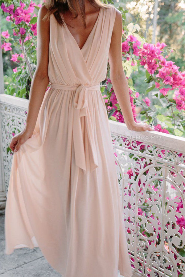 A Line Floor Length Deep V Neck Sleeveless Chiffon Cheap Bridesmaid Dresses B205 - Ombreprom