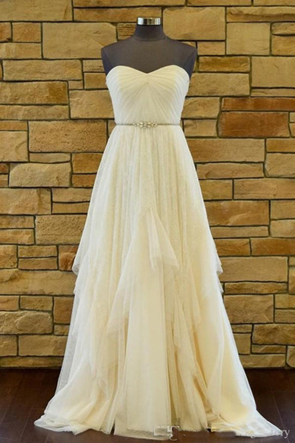 Sweetheart Strapless Court Train Cheap Wedding Gown,A Line Backless Ruffles Wedding Dress
