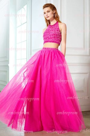 Hot Pink Two Piece A Line Floor Length Halter Sleeveless Beading Prom Dress,Formal Dress