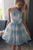 White A Line Halter Sleeveless Sheer Back Appliques Short Homecoming Dress