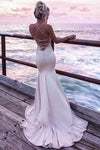 Impressive Mermaid Satin Backless Spaghetti Straps Prom Dress Lace Appliques Sweep Train P835