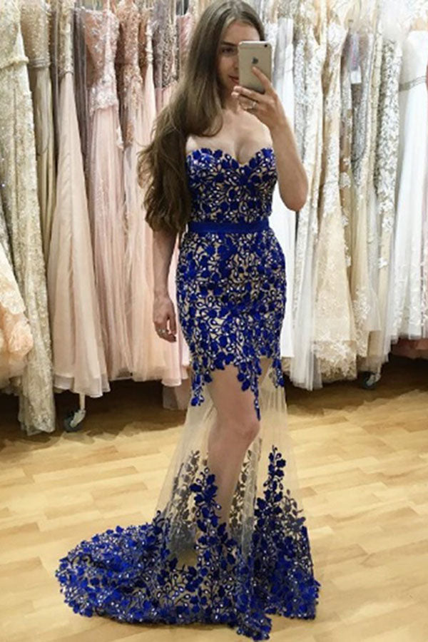 Blue Sheath Brush Train Sweetheart Sleeveless Beading Prom Dress,Party Dress P439 - Ombreprom