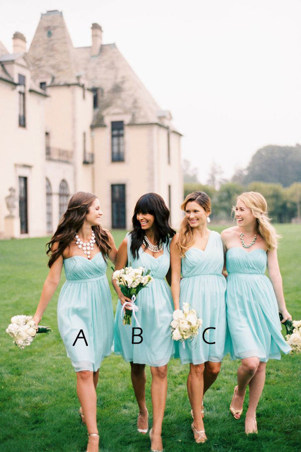 Mint Green A Line Knee Length Sleeveless Chiffon Simple Cheap Bridesmaid Dresses B251 - Ombreprom