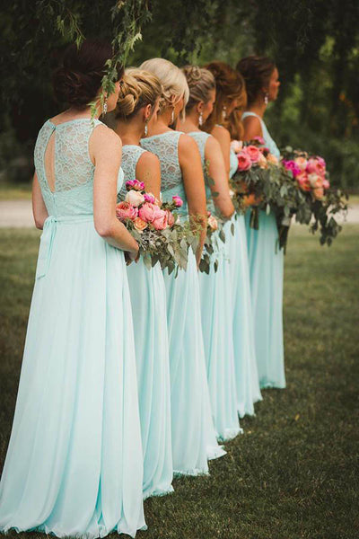 Blue A Line Floor Length Sleeveless Chiffon Bridesmaid Dress, Wedding Party Dress B341 - Ombreprom
