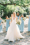 White A Line Brush Train Deep V Neck Sleeveless Layers Wedding Dress,Beach Wedding Dress