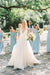 White A Line Brush Train Deep V Neck Sleeveless Layers Wedding Dress,Beach Wedding Dress W218