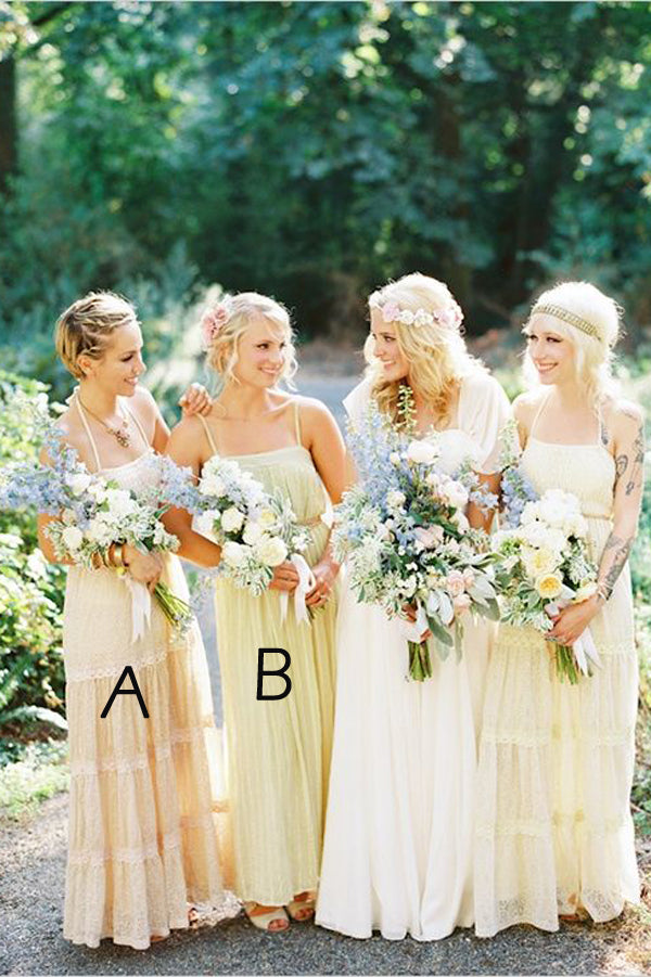 A Line Floor Length Straight Halter Open Back Boho Cheap Bridesmaid Dresses B239 - Ombreprom