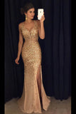Sheath/Column Floor Length Deep V Neck Sleeveless Beading Side Slit Evening/Prom Dress P64 - Ombreprom