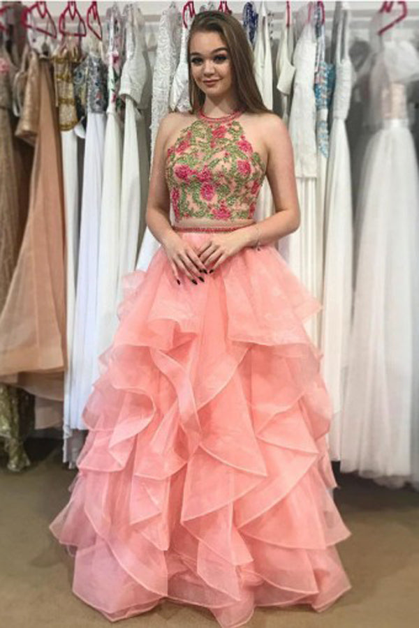 Watermelon Two Piece A Line Floor Length Strapless Sleeveless Ruffles Prom Dress,Party Dress